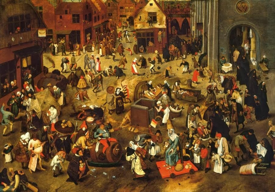 "A panel from Bruegel's ""The Battle Between Carnival and Lent"", 1559"
