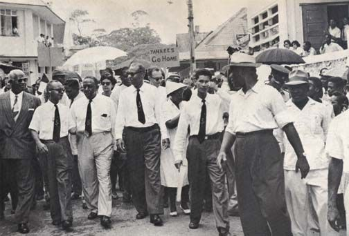 'March in the rain' to demand the return of Chaguaramas to the people of Trinidad and Tobago [1960].